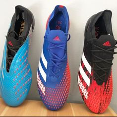"""The Boot Bible on Instagram: """"Planning for another spike 😷 - A couple of the Adidas 20.1 Preds 👊Love the OG black and red colourway but the blue red has grown on me 🔥🔥 -…"""" Soccer Shoes, Cleats, Running Shoes, Bible, Adidas, Couples, Boots, Sneakers, Red"""