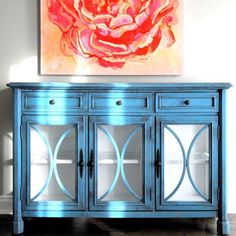 Chalk Paint® by Annie Sloan mix of Aubusson Blue and Duck Egg 50/50. Interior is simply Pure White. Gorgeous painted by buffet by artist and Annie Sloan Painter in Residence Ildiko Horvath. #chalkpaint #anniesloan
