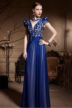 Beautiful Couture Blue Cap Sleeve Evening Dress - 2306287