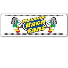The Welcome Race Fans Sign Banner is made of an all weather white plastic material, so you can hang it inside or outside. The banner reads Welcome Race Fans, and has racing flag along with black and white checkered designs at the top and bottom. Nascar Party, Race Car Party, Party Food Themes, Birthday Party Themes, Party Ideas, Race Car Themes, Fan Signs, Nascar Racing, Party Supplies