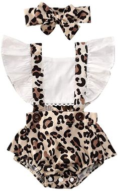 Baby Girl White Ruffled Leopard Romper Beautiful romper for y.-- Baby Girl White Ruffled Leopard Romper Beautiful romper for your baby girl White ruffled sleeves + Stylish leopard print Matching headband includes Snaps on bottom for easy changing Trendy Baby Clothes, Cute Baby Girl Outfits, Baby Girl Romper, Baby Girl Newborn, Newborn Baby Girl Clothes, Baby Baby, Toddler Outfits, Baby Girl Fashion Clothes, Baby Clothes For Girls