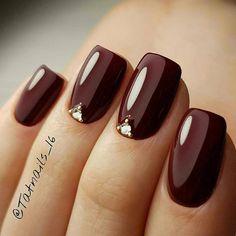 Burgundy Nail Designs, Elegant Nail Designs, Maroon Nails, Burgundy Nails, Burgundy Color, Cute Nails, Pretty Nails, Fancy Nails, Luxury Nails