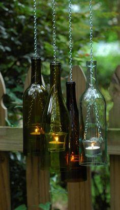 Bottle & Chain hanging WINE BOTTLE Lantern. Glass tea light candle holder for Indoor / Outdoor