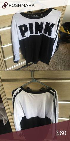 Pink black/white sequin sweatshirt Fashion show shirt size small worn once cheaper on Merc PINK Victoria's Secret Tops Sweatshirts & Hoodies