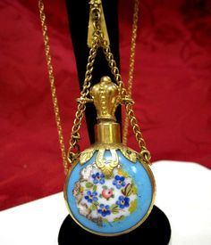RARE ANTIQUE VICTORIAN CHATELAINE FLORAL ENAMEL PERFUME SCENT BOTTLE NECKLACE