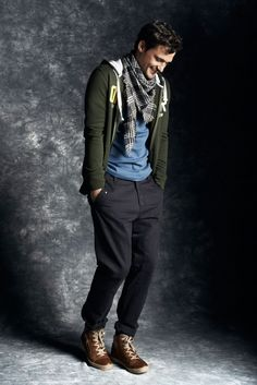 Sam Webb posing in the latest Fall Winter 2013 looks coming from Reserved.