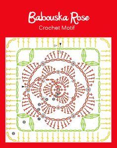 Crochet: Babouska Rose crochet motif  <3