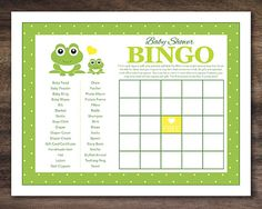 Instant Download, Frog Baby Shower Bingo Cards, Printable Party Game Sheets for New Baby Boy Girl Unisex, Green Polkadot Yellow  #24A