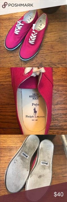 Pink polo canvas shoes! Super cute bright pink Polo canvas shoes! Worn 1 time!!! Polo by Ralph Lauren Shoes Sneakers