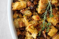 A Bountiful Kitchen: Artisan Cornbread Stuffing with Apples and Italian Sausage - please don't use jiffy mix with all that sugar.  who wants a savory dish sweet.  make your own corn bread