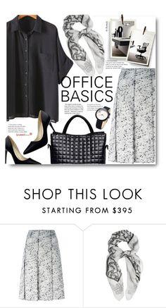 """Work Wear Basics"" by beebeely-look ❤ liked on Polyvore featuring Nina Ricci, MaxMara, WorkWear, blackandwhite, scarf, sammydress and trendytweed"