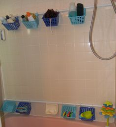 Yes, we have a hideous pink bathtub and the baskets don't match it, but I love this new way to store Baby's bath toys and our toiletries. Best part? I got all the supplies at Target and Dollar Tree, so the total cost for the project was just under $24. Woot! (http://pinterest.com/pin/132011832798276459/)