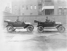 Police Patrol cars (Ford Model Ts) in Springfield MA, 1916.