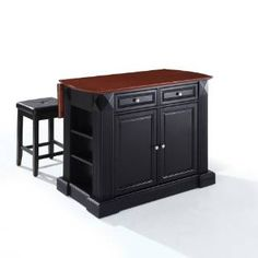 """Check out the Crosley Furniture KF300075BK Coventry Drop Leaf Breakfast Bar Top Kitchen Island with 24"""" Upholstered Square Seat Stools in Black priced at $799.00 at Homeclick.com."""