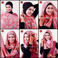 Simple and easy daily hijab tutorial: pashmina Tutorial Hijab Pesta, Simple Hijab Tutorial, Modesty Fashion, Fashion Outfits, How To Wear Hijab, Hijab Fashionista, Islamic Fashion, Scarf Styles, Hijab Styles