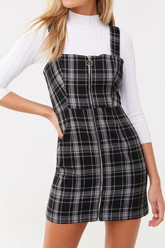 A woven mini pinafore dress featuring an allover plaid pattern, square neck, adjustable shoulder straps, and an exposed front pull-ring zip closure. Plaid Outfits, Plaid Dress, Cute Casual Outfits, Fashion Outfits, Fashion Clothes, Stylish Outfits, Fashion Tips, Fashion Trends, Summer Dress Outfits