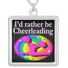 RATHER BE CHEERLEADING SQUARE PENDANT NECKLACE Sparkle and shine in this pretty Cheerleader jewelry. http://www.zazzle.com/collections/cheerleader_jewelry-119751628422039309?rf=238246180177746410 #Cheerleading #Cheerleader #Cheerleadergift #Lovecheerleading #Cheerleaderjewelry