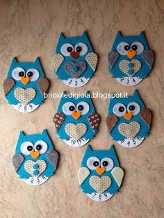 briciole di gioia: Gufi disco orario 2014-2015 Creative Activities For Kids, Diy Projects For Kids, Art Activities, Diy For Kids, Crafts For Kids, Owl Crafts, Clay Crafts, Diy And Crafts, Baby Boy Cupcakes