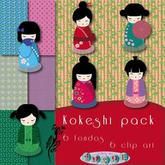 CIPART Monejo. KOKESHI pack. Scrapbooking. Sell On Etsy, Minnie Mouse, Packing, Etsy Shop, Kit, Things To Sell, Disney Characters, Unique Jewelry, Creative