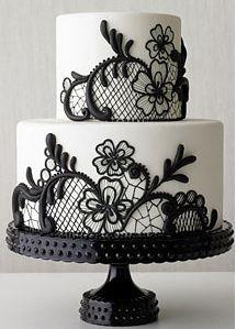 Black lace wedding cake - Best of wedding cakes 2009 - Real Simple Magazine Pretty Cakes, Beautiful Cakes, Amazing Cakes, Black And White Wedding Cake, White Wedding Cakes, Black White, Lace Wedding, Elegant Wedding, Purple Wedding