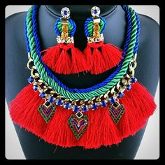 Red Tassle Statement Set Red Tassle Statement Necklace Set...  Brand New..    Take an additional 5% off by purchasing on my website.. Discount code is 'ThankYou' at checkout..  (link in bio)  Currently In Stock  Will ship the next day after payment   For search purposes only: #SteveMadden #FashionNova #Gold #StatementNecklace #NecklaceSet #CharlotteRusse #Forever21 Forever 21 Jewelry Necklaces