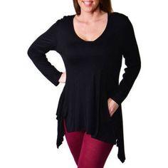 Plus Size 24/7 Comfort Apparel Women's Plus Long Sleeve Tunic, Size: 2XL, Black