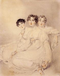 1814 Lady Bagot, Lady Fitzroy Somerset Later Lady Raglan, and Lady Burghersh Later Countess of Westmorland by Sir Thomas Lawrence (private collection)This Lawrence portrait shows the three Wellesly-Pole sisters wearing three comparable dresses.