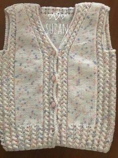 the Bebekyelek - Battaniye Crochet Baby Jacket, Baby Cardigan Knitting Pattern, Knit Vest, Cardigan Pattern, Baby Knitting Patterns, Knitting Designs, Knitting Stitches, Crochet Designs, Free Knitting