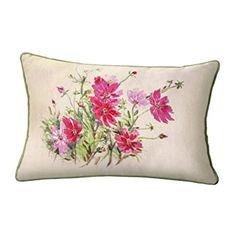 Pink Ribbon Flower Accent Pillow