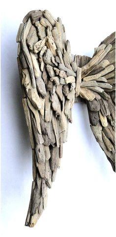 Large Angel Wings In Beach Oriented Driftwood by TheKingsBay