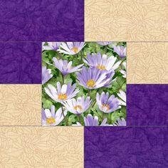 Garden Daisy Purple Pre-Cut Quilt Blocks Kit
