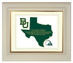 Baylor Bears Texas State Map College by PatriotIslandDesigns, $14.00