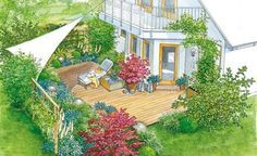 Blattschmuckstauden und Gehölze bereichern die Terrasse und sind dabei pflegeleicht