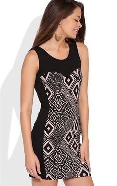 Deb Shops Tribal Print Bodycon Dress with Solid Paneling $25.00