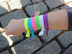 #Neon Hair Band Bracelets! Add some color to your #workout! #girlsgonesporty #fitness