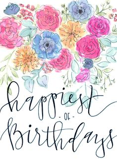 happy birthday card | watercolor floral & modern calligraphy | coppola creative