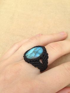 Blue light labradorite macrame ring Gem stone ring by ARTofCecilia, $25.00