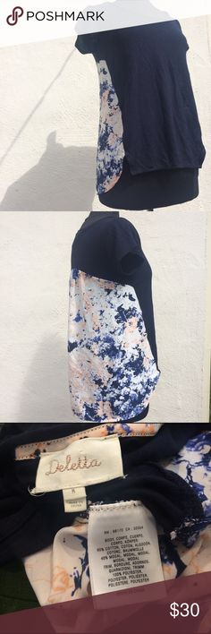Anthropologie Navy Top Deletta brand navy and Floral short sleeve shirt perfect to transition into spring/summer. Navy part is 60% cotton and 40% modal making it lightweight and soft and the floral print is 100% polyester. Anthropologie Tops Tees - Short Sleeve