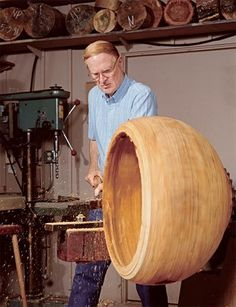 Massive Woodturning.   I love this amaz­ing shot of the late Ed Moulthrop at work from Apart­ment Ther­apy