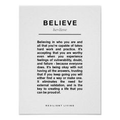 BELIEVE Personal Manifesto Poster resilient empowered believe motivation inspiration poster innerstrength courage confidence encouragement Motivational Posters, Quote Posters, Inner Strength, Quotes About Strength, Motivate Yourself, Custom Posters, Self Esteem, Motivation Inspiration, Favorite Quotes
