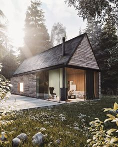 Mountain Cottage ♥ Render by Are you looking for a support for your interior and and architectural visuals ?… Mountain Cottage ♥ Render by Francesco Stefanizzi Are you looking for a support for your interior and and architectural visuals ? Modern Tiny House, Modern Barn, Modern Cabins, Casas Containers, Mountain Cottage, Wood Interior Design, Weekend House, Cabin Design, Home Fashion
