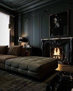 Dark Living Rooms, Black Interior Design, Black Rooms, Best Decor, Budget Home Decorating, Decorating Ideas, Dark Interiors, Dream Home Design, Black Decor