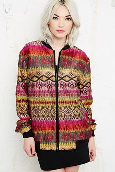 Conspicuous Multi-Coloured Bomber Jacket in Pink