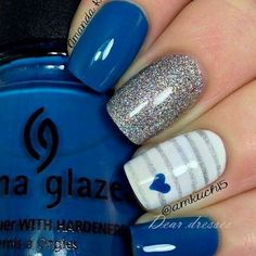 There are three kinds of fake nails which all come from the family of plastics. Acrylic nails are a liquid and powder mix. They are mixed in front of you and then they are brushed onto your nails and shaped. These nails are air dried. Fancy Nails, Diy Nails, Gorgeous Nails, Pretty Nails, Amazing Nails, Fabulous Nails, Blue And White Nails, Blue Grey, Color Blue