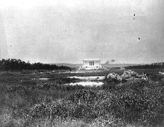 Picture of the Lincoln Memorial in 1917 from where the WWII Memorial now stands.