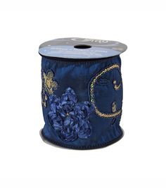 Offray 4in Detailed Luxury Ribbon - Royal Blue