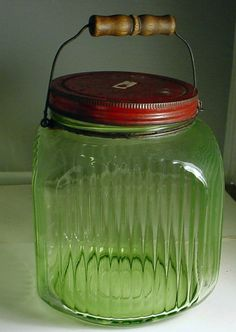 VINTAGE DEPRESSION GREEN HOOSIER  COFFEE CANISTER JAR
