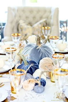 Glam Fall Dining Room Tour + Velvet Pumpkin Table - how to set a glam Fall table using velvet pumpkins, fresh white baby pumpkins Thanksgiving Table Settings, Thanksgiving Tablescapes, Thanksgiving Decorations, Seasonal Decor, Fall Table Settings, Hosting Thanksgiving, Halloween Decorations, Fall Home Decor, Autumn Home
