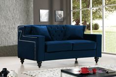 Shop Meridian Furniture Harley Navy Velvet Loveseat with great price, The Classy Home Furniture has the best selection of Loveseats to choose from Navy Blue Velvet Sofa, Blue Velvet Fabric, Meridian Furniture, Blue Couches, Leather Loveseat, Soft Seating, Best Sofa, Modern Sofa, Fabric Sofa