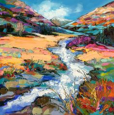 Judith Bridgland (Scottish-Australian, b. 1962, Horsham, Victoria, Australia, based Glasgow, Scotland) - Burn in Spate, Argyll  Paintings: Oil on Linen